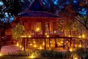 Khmer Village House Exterior Night